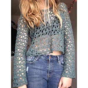 Free People Open Knit Cropped Hoodie